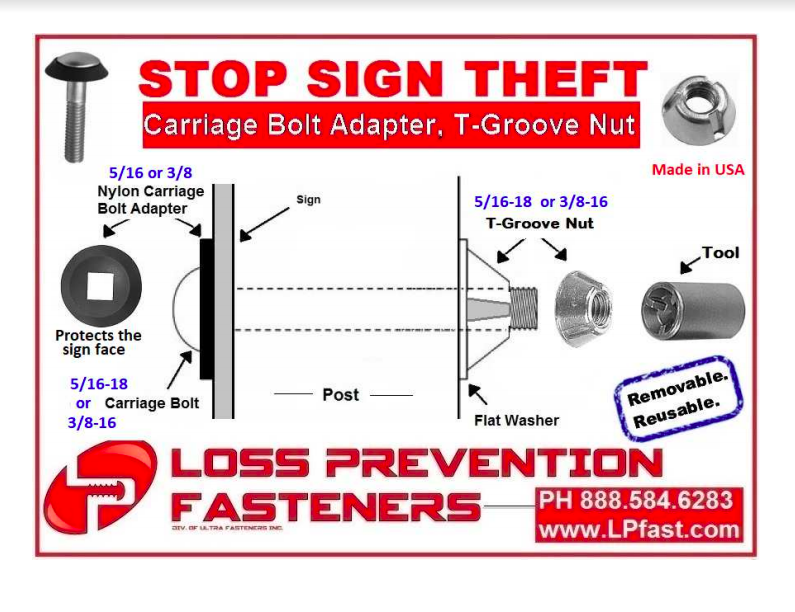 loss prevention fasteners carriage bolt