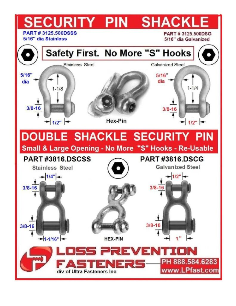 Security Pin shackles