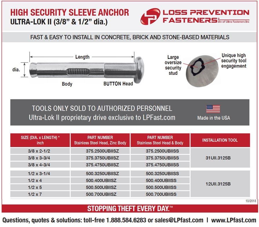 Ultra-Lok II High Security Sleeve Anchor made in USA