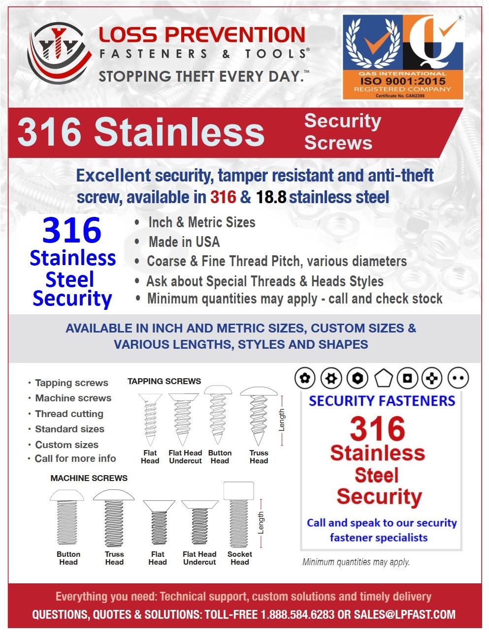 316 Stainless Steel tamperproof