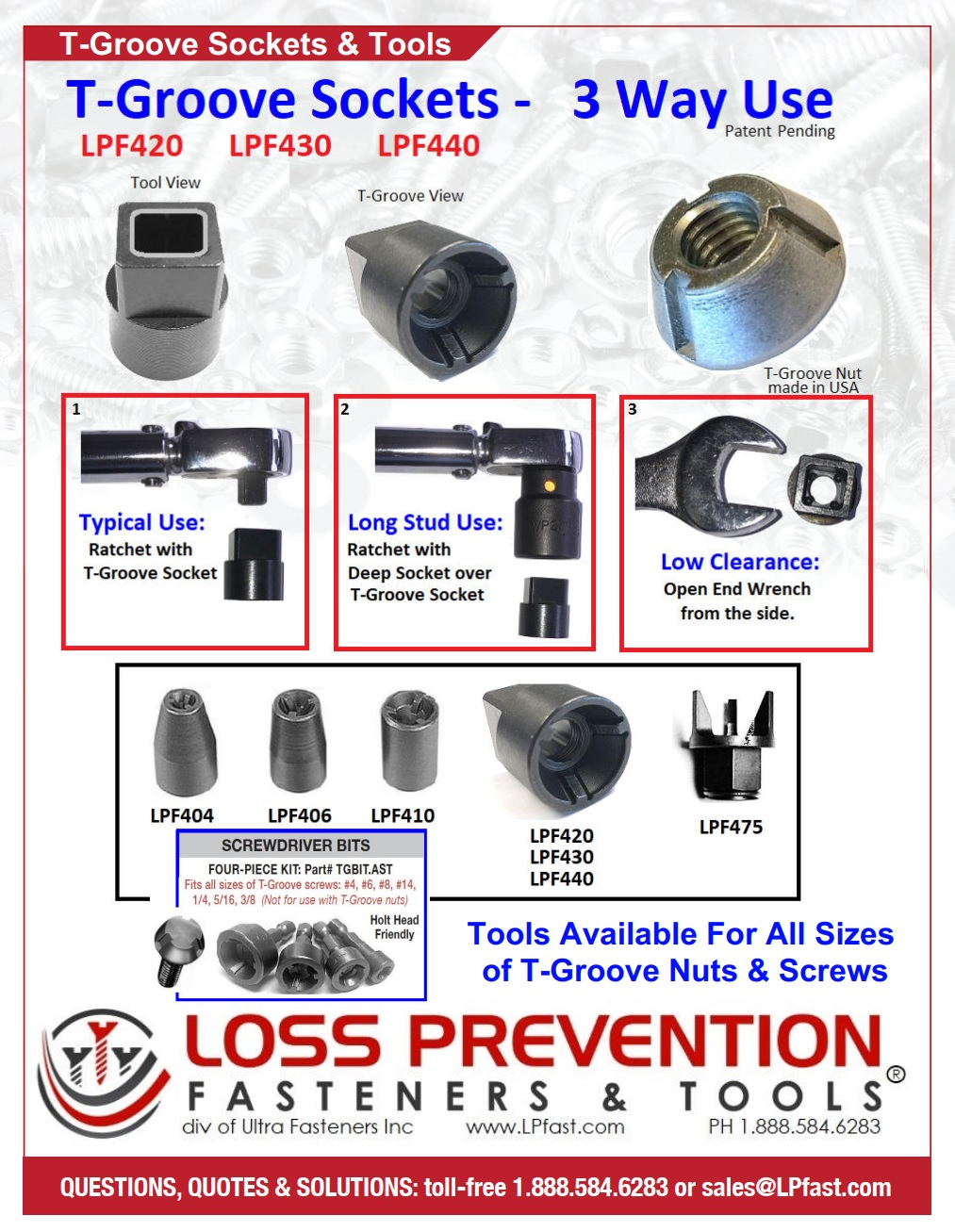 T-Groove Sockets and Tools