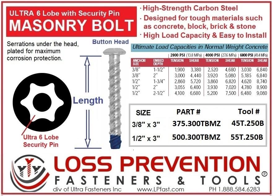 Masonry Bolt Torx Pin Tapcon style